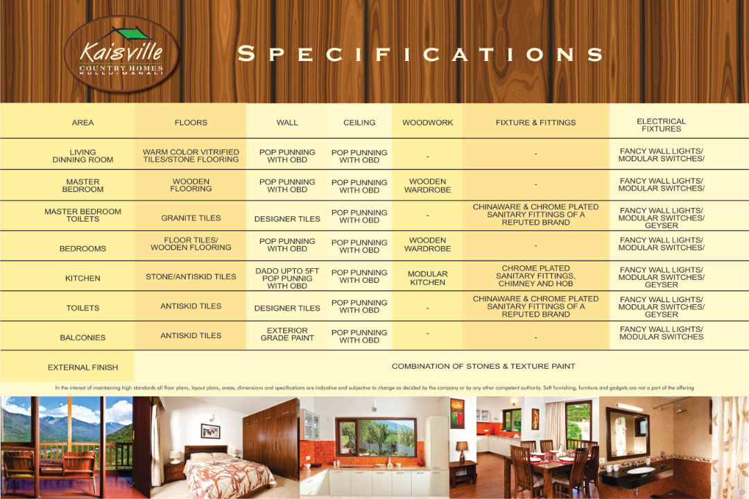 Specification for Kaisville Country Homes